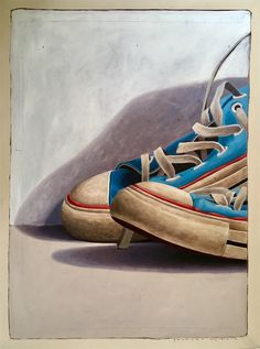"Available for sale from Eisenhauer Gallery, Santiago Garcia, "" Large Scale Cropped Portrait of Old Blue Converse Sneakers Oil & Acrylic … Blue Converse, Converse Sneakers, Converse All Star, Still Life Drawing, Still Life Art, Art Paintings For Sale, Abstract Paintings, Shoe Art, Art Shoes"