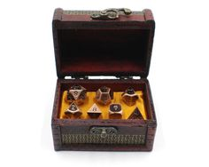 7 Piece Metal Dice Set with Storage Chest / Box for Dungeons and Dragons by SarinaCraftSupplies on Etsy https://www.etsy.com/listing/516385904/7-piece-metal-dice-set-with-storage