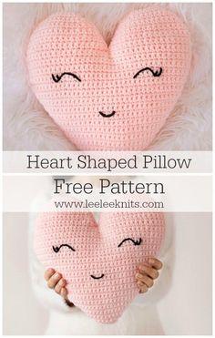 Heart Shaped Pillow Crochet Pattern - Leelee Knits