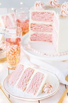 This Pink Champagne Cake is the perfect way to celebrate any occasion or holiday! A champagne infused cake with a classic vanilla buttercream. | livforcake.com