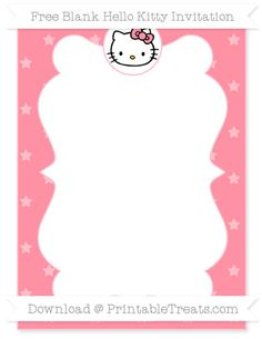 Free Salmon Pink Star Pattern  Blank Hello Kitty Invitation