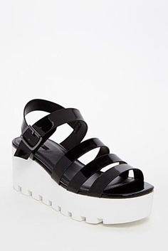 black and white platform sandals