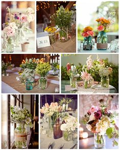 Adore the use of old mason jars and bottles to create these eclectic arrangements.