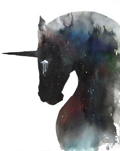 Dark Unicorn by Lora Zombie - Prints available at Eyes On Walls - http://www.eyesonwalls.com/products/dark-unicorn