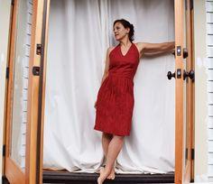 Crinkling The Skirt On The Rose City Halter Dress – Sew House Seven