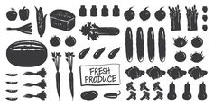 Farmers Delight, a free dingbat font of fresh produce from Chank. This would be great for adding to kitchen labels or recipe cards.