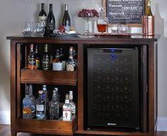 Firenze Mezzo Wine And Spirits Credenza (Espresso) With Wine.- Firenze Mezzo Wine And Spirits Credenza (Espresso) With Wine Refrigerator - Wine Refrigerator, Wine Fridge, Wine Credenza, Small Bars For Home, Home Bar Designs, Coffee Wine, Hot Coffee, Coffee Shop, Diy Bar