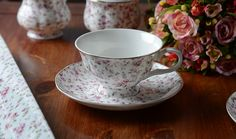 white Floral Tea Cup And Saucer