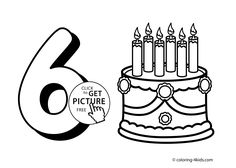 6 numbers coloring pages for kids, printable free digits coloring books