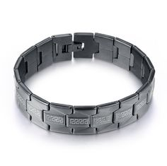 Amazon.com: Blowin Stainless Steel Men's Greek Key Bracelet Black Polished Classic: Jewelry