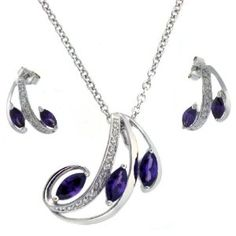 "Necklace Earring Set Silver Swarovski Crystals Purple February Ameythst Birthstone Bucasi  Price: $49.95 & FREE Shipping and Free Returns. Details You Save: $10.00 (17%)      Set Necklace Earring Sterling Silver Swarovski Crystals     Pendant with Designed with Purple February Ameythst Birthstones     Necklace is 16"" long, With a 3"" Extender"