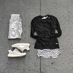 WEBSTA @ wdywt -  or : #WDYWTgrid by @mheezus#mensfashion #outfit #ootd: #Custom: #HM: #Adidas #Yeezyboost 350 'Moonrock'#WDYWT for on-feet photos#WDYWTgrid for outfit lay down photos•