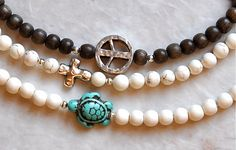 RESERVED FOR CASSANDRA Sea Turtle Cross Peace Beaded by BeadRustic, $55.00