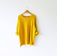Vintage Knit Oversized Tunic Sweater in Saffron by thehappyforest