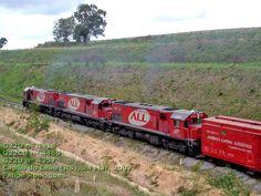Locomotivas G22U nº 4416, G22CU nº 4469 e G22U nº 4357 da ferrovia ALL em Capão do Leão (RS), 2007, por Felipe Rodrigues