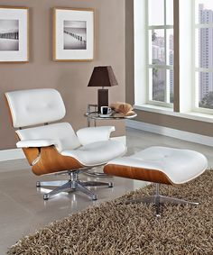 White & Natural Eaze Lounge Chair & Ottoman | Daily deals for moms, babies and kids