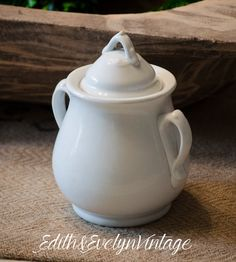 Antique English Ironstone Sugar Jar White Meakin by edithandevelyn