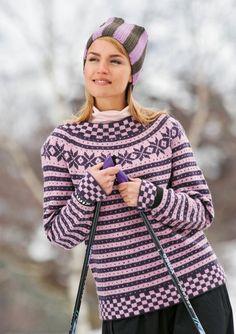 Modell Til Fjells 1011 Vintage Knitting, Hand Knitting, Winter Wear, Winter Hats, Hand Knitted Sweaters, Knitting Designs, Sweater Jacket, Knitwear, Knit Crochet