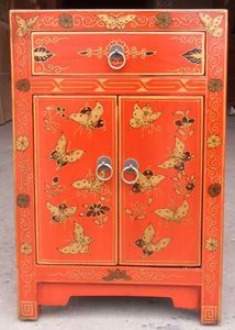 Chinese Butterfly Painted Small Cupboard Bedside Oriental Decorative  Furniture
