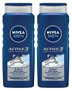 Nivea for Men Active 3 Body Wash - 16.9 Oz by NIVEA. $3.09. Nivea. FOR MEN who want the convenience of a 3-in-1 cleansing product to fit their active lifestyle. FOR MEN who want the convenience of a 3-in-1 cleansing product to fit their active lifestyle. What do you get?An all in one cleansing product with Advanced MicroTec-Technology (essential nutrients and high-tech polymers) that leaves you feeling clean and refreshed. A caring body wash, a cleansing shampoo, ...