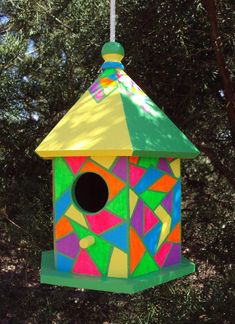 Bright Colors Handpainted Birdhouse/Geometric Shapes/Stained Glass Look/Pink/Yellow/Green/Purple/Ora Birdhouse Craft, Birdhouse Designs, Birdhouse Ideas, Bird Houses Painted, Decorative Bird Houses, Painted Birdhouses, House Painting, Painting On Wood, Garden Art