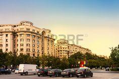 Rush hour on Unirii Boulevard in Bucharest, Romania.  Stock Photo