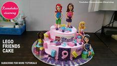 lego friends birthday cake with fondant characters mia emma andrea stephanie olivia design ideas Cartoon Birthday Cake, Animal Birthday Cakes, Frozen Birthday Cake, Birthday Cake Girls, Birthday Ideas, Frozen Cake, Simple Birthday Cake Designs, Cake Designs For Girl, Simple Cake Designs
