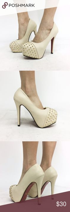 Beige Platform Pumps with Gold Studs and Red Sole -Size 37 -Gold studs design at toe -Red sole  Brand new never worn. Plastic at sole still attached as shown in pic 2 and 4. All photos are mine and are not stock photos. *Tagged ASOS for exposure only.  NO TRADES ASOS Shoes Platforms