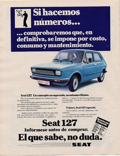 Seat 127 Old Posters, Vintage Posters, Seat 127, Cadillac, Nostalgia, Vw Group, 70s Cars, Bmw Autos, Car Brochure
