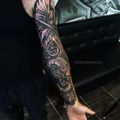 Braço - Sister and Brother Forearm Sleeve Tattoos, Full Sleeve Tattoos, Tattoo Sleeve Designs, Tattoo Designs Men, Leg Tattoos, Black Tattoos, Body Art Tattoos, Tattoo Arm, Tattos