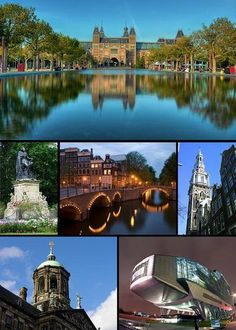 Amsterdam  From left to right and top to bottom: Rijksmuseum Amsterdam, Statue in the Vondelpark, Keizersgracht, Zuiderkerk, Royal Palace (Amsterdam), ING House