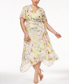 INC International Concepts Plus Size Floral-Print Wrap Dress, Only at Macy's | macys.com