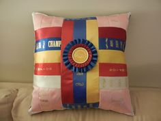 Handmade Horse Show Ribbon Pillow