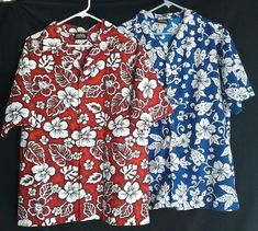 1f173fc47 ODO Hawaiian Bowling Camp Surfer Aloha Shirts Blue & Red Floral Lot of 2  Size L