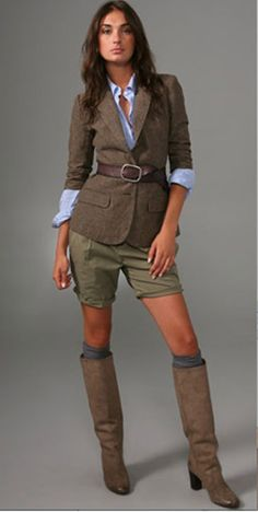 Taupe tall boots, and tops. Not the shorts though.