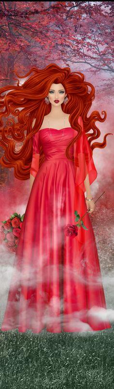 Clouds of Crimson Red Hair Woman, Covet Fashion Games, Fashion Design Sketches, Clouds, Female, Disney Princess, Dresses, Baby Dolls, Vestidos