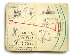 Oliver Jeffers sketchbook illustrations for the United Airlines in-flight magazine. It looks like they were drawn a pocket-sized Moleskine Cahier using waxy colored pencils and some white ink or ge. Sketchbook Inspiration, Journal Inspiration, Mental Map, Oliver Jeffers, Creative Review, Artist Sketchbook, Handmade Books, Illustrations, Art Day