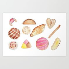 Pan Dulce Art Print by Thalia Roman - X-Small Mexican Sweet Breads, Mexican Bread, Pan Dulce Types, Color Pencil Sketch, Watercolor Pans, Croc Charms, Cute Poster, Cafe Food, Cute Illustration
