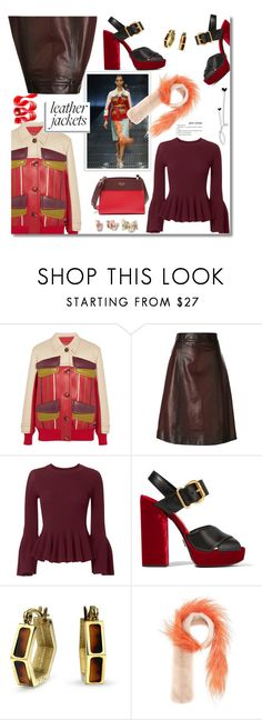 """""""Cool-Girl Style: Leather Jackets"""" by faten-m-h ❤ liked on Polyvore featuring Prada, Jonathan Simkhai, Bling Jewelry and leatherjackets"""