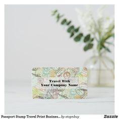 Passport Stamp Travel Print Business Card | Zazzle.com