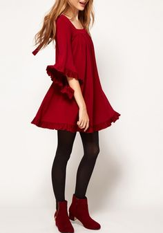 Red Pleated Tie Back Lotus Sleeve Chiffon Dress