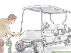 How to Paint a Golf Cart. If your plain white golf cart looks a little dull for your taste, spruce it up with a paint job. Even if you've never painted before, anyone from an amateur to an expert decorator can make a golf cart look sleek. Bar Carts For Sale, Golf Cart Seats, Golf Mk4, Yamaha Golf Carts, Cheap Golf Clubs, Custom Golf Carts, Golf Apps, Golf Cart Accessories, Golf Pride Grips
