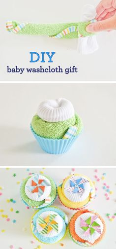 Giving a gift to a new mommy at her baby shower? Offer heartfelt new baby wishes with an adorably wrapped gift she'll actually need! This DIY Baby Washcloth Gift can be customized for a baby boy or baby girl gift and will be so helpful to the new parents in your life. Plus, they're wrapped up in colorful cupcake holders for an ultra-cute presentation!