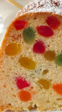 Gumdrop Cake ~ A dense buttery pound cake packed with brilliantly colored morsels of gumdrop candy. It's very popular during the Holidays or as a birthday cake recipes and nutrition and drinks recipes recipes celebration diet recipes Baking Recipes, Cake Recipes, Dessert Recipes, Rock Recipes, Vegan Recipes, Mini Cakes, Cupcake Cakes, Cake Cookies, Bundt Cakes