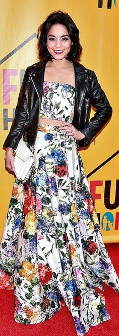 Who made  Vanessa Hudgens' floral crop top and white print maxi skirt?