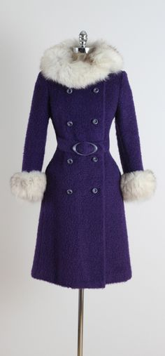 Vintage 1960's Purple Wool Fox Trim Coat from Mill Street Vintage