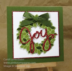 Sneak Peek Holiday Catalog Wondrous Wreath & Wonderful Wreath Framelits by Carol Lovenstein, www.pinkstampagne.com Stampin' Up! card idea
