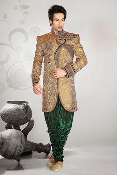 Golden Indowestern Sherwani With Green Breeches