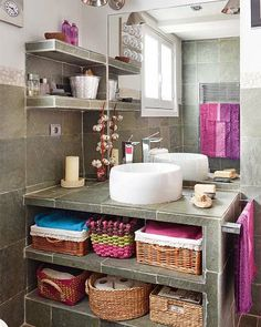 Possibly remove hideous cabinets and stain/make cute and well organized? Awesome 36 Bright Bohemian Bathroom Design Ideas : 36 Bright Bohemian Bathroom Design With White Grey Wall Cabinet Mirror Wash Basin Candle Soap Purple Towel Basket Ceramic Floor Chic Bathrooms, Chic Bedroom, Boho Chic Bedroom, Bathroom Decor, Bohemian Bathroom, Bathroom Design, Attic Design, Shabby Chic Bathroom, Chic Bedroom Design