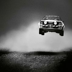 Audi Quattro Rally Car in the 'oh shit' moment